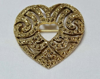 Brass Heart Brooch Apparel & Accessories Jewelry Vintage Jewelry Brooch
