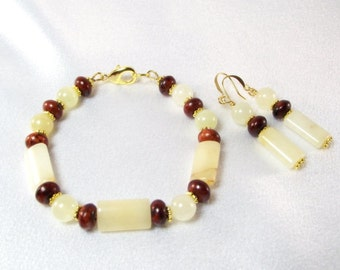 Creamy White and Brown Bracelet and Earring Set Featuring Golden Cream Quartz, Italian Onyx and Coffee Turquoise
