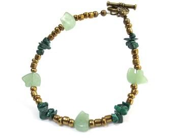 Green Beaded Bracelet, Dark Green Malachite Chips, Bronze Bracelet, Adventurine Bear Fetish Beads, Rustic Tribal Jewelry, Large Bracelet