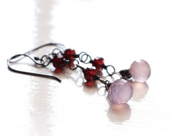 Lavender Purple Chalcedony Earrings with Red Garnet Rondelles Oxidized Sterling Silver Wire Wrapped