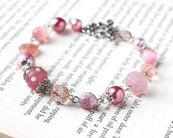 Dusty Pink Bridesmaid Jewelry Bracelet with Czech Glass Beads, Lampwork Glass and Glass Pearls - Sweet Spring Wedding