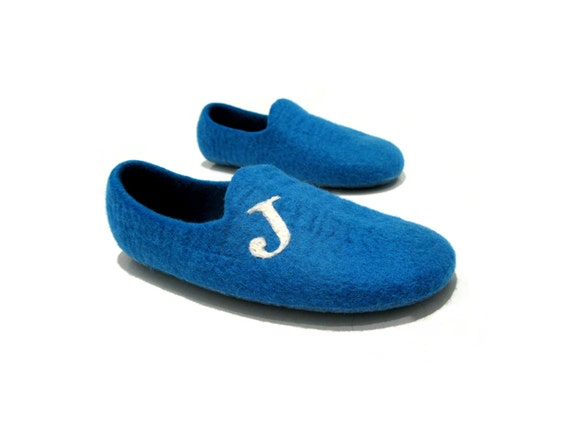 Felted blue slippers - Mens house slippers - Original initialled slippers