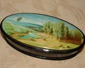 Vintage Handpainted Russian Lacquerware Trinket Box - Pastoral Scene