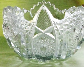 Turn of the Century Pressed Glass Bowl 7.5 Inches Antique