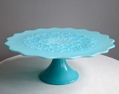Turquoise Blue Milk Glass Pedestal Cake Stand -- Spanish Lace by Fenton Pastel Vintage Wedding 1950s