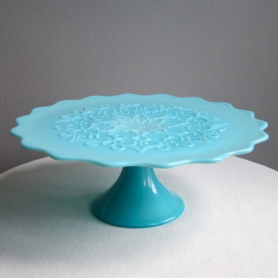 Turquoise blue milk glass pedestal cake stand spanish lace for Colored glass cake stand