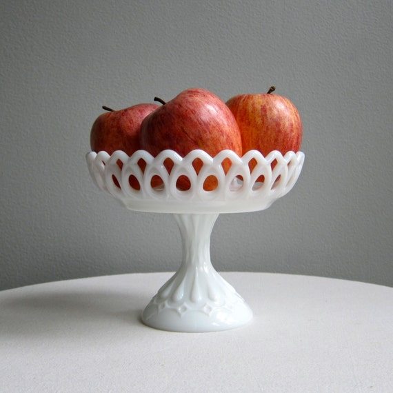 Fenton Milk Glass Pedestal Compote Footed Bowl, 1950s