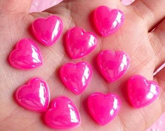 Puffy Heart Cabochons (DARK PINK) (10 pcs) Kawaii Cell Phone Deco Decoden Supplies RHE016