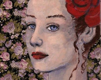 "Art Print of my original mixed media, Portrait,""Delilah"",romantic,pretty woman,floral,blue eyes,girls room,fine art paper,handsigned"