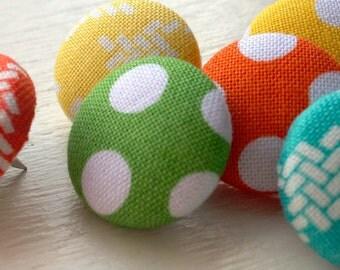Decorative Thumbtacks,6 Thumbtacks,Thumb Tacks,Push Pins,Pushpins,Home Office,Bulletin Board,Office,Aqua Blue,Yellow and Orange Houndstooth