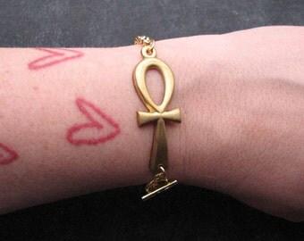 ankh bracelet - in golden brass - key of life egyptian hieroglyphic jewelry