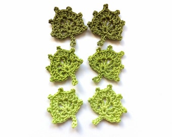 Green leaves applique - spring leaves embellishments - crochet leaves decorations for DIY projects - green woodland applique - set of 6