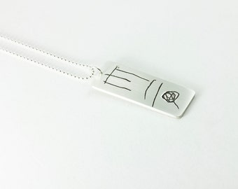 Your Child's Signature on a Fine Silver Necklace
