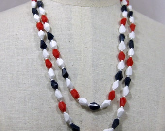 52 inch Red White and Blue Trapazoid shaped bead Necklace 1960s NEW OLD STOCK  cSc 301