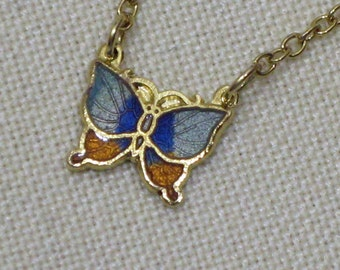 Childs Butterfly Pendant in Aqua Blue and  Golden Topaz Cloisonne  1960s  NEW OLD STOCK  cSc 349