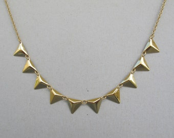Gold Triangles necklace.  pyramid  gold triangles necklace.