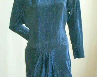 Late 70s Vintage sparkly blue metallic drop waist pleat disco dancing cocktail dress XS