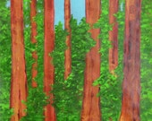 original painting of giant redwood trees in Sequoia national park, Californiaframed landscape redwoods sequoia
