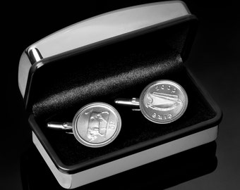 22nd Anniversary Gift, 1995 Irish Gift - Irish Coin Cufflinks - Includes presentation box - 100% satisfaction - 3 day delivery option