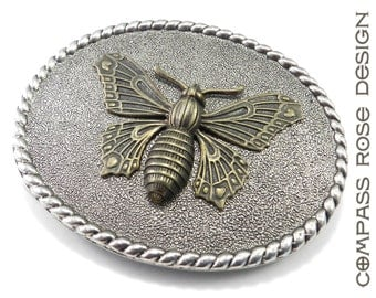 Steampunk Belt Buckle Victorian Butterfly Belt Buckle Gold on Silver - discontinued item