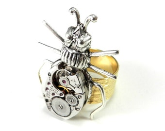 Steampunk Scarab Ring - Silver and Gold Clockwork Scarab Beetle - Victorian Insect Watch Movement Ring
