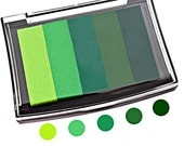 Thumbprint Fingerprint Wedding Tree ink pad, 5 shades of green, acid free, fade-resistant inks, wedding tree fingerprint inks