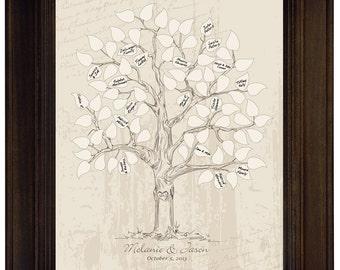 Custom Wedding Guest Book Alternative Vintage Wedding Tree Guestbook Thumb Fingerprint Wedding Tree Personalized Wedding Vintage guest book