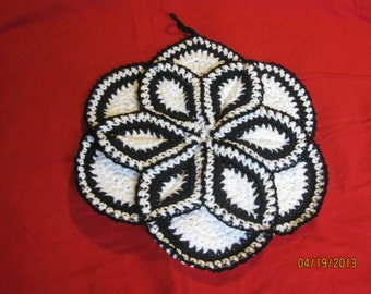 Hand crocheted Potholder hotpad White and Black 10 inches