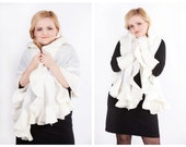 Felted merino wool natural linen shawl perfect accessory for Wedding White color Handamde scarf