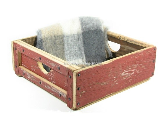 Wood Crate Wooden Box Pet Bed Reclaimed Red by BridgewoodPlace