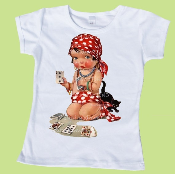 Gypsy Baby T Shirt,card reader, fortune teller,Girl's clothes,baby one piece, Girls Retro Gypsy Baby,One Piece Baby by ChiTownBoutique.etsy