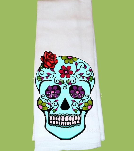 Sugar Skull Flour Sack Tea Towel Many Colors By