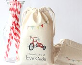 RED TRICYCLE -  Personalized Favor Bags - Set of 10 - Birthday - red bike - bunting - party