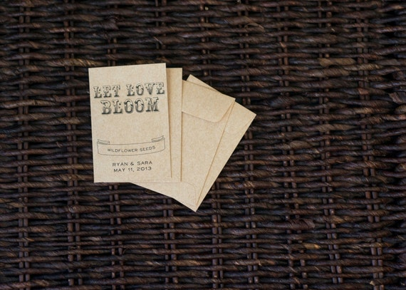 100 Kraft Paper Flower Seed Favor Envelopes