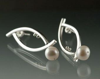 Natural Fresh Water White Pearl on Elliptical Sterling Silver Earrings- Post Back- Modern