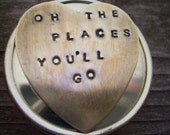 Graduation gift - Real working compass - secret message -Oh the place you'll Go - hand stamped - you can personalize your own quote as well