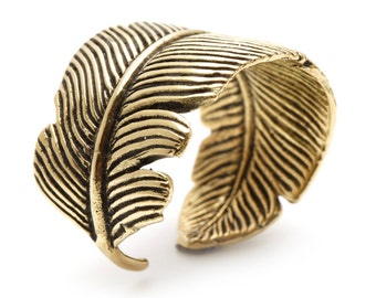 Gold Feather Ring Adjustable Womens and Mens Brass Rings