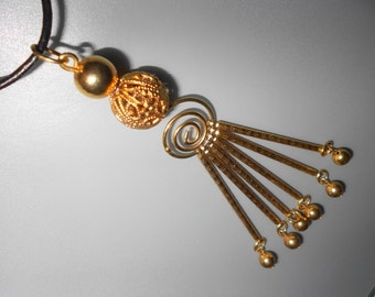 Abstract 60s Pendant Spiral Accent Vintage Chic Mad Men Up-Cycled Fashion Accessory