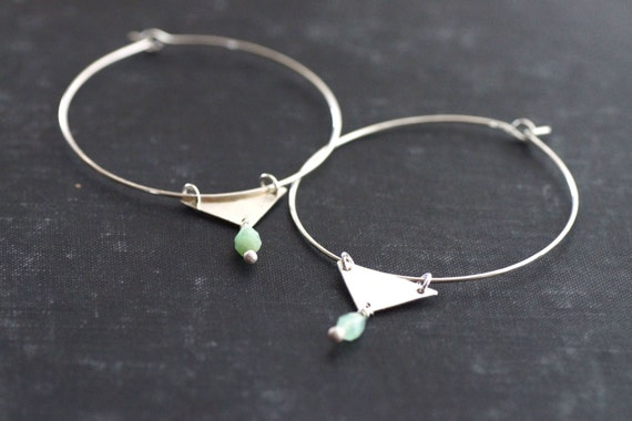 Sterling Hoops with Chrysoprase and Triangle Dangle