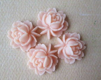 4PCS - Rose Flower Cabochons - Resin - Pale Peach - 17x18mm Cabochons by ZARDENIA