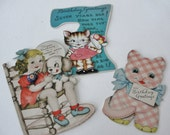 Vintage Gingham Cat and Little Girs Birthday Cards, Vintage Metal Birthday Pin,1940s Vintage Birthday Card, Set of 3