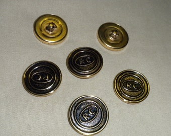 "Vintage Dark Gold RC Metal 7/8"" Shank Button -- 12 pcs   (B437)"