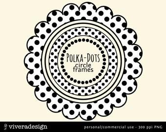 Digital Circle Frames in Polka Dots -  Black and White
