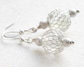 Fish Net Sterling Silver Earrings, Fine Jewelry, Dangle Earrings, Drop Earrings, Wire Wrapped Net Balls, Stardust Wedding Fancy