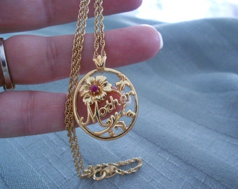 Vintage Avon Mother and Ruby Birthstone necklace