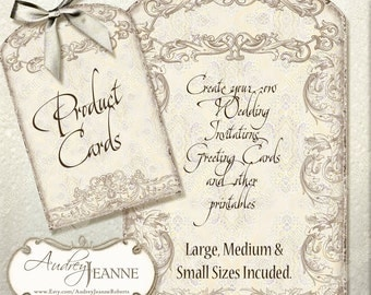 Lace Tags, Digital Collage Sheet AJR-361B kitchen gift labels, scrapbooking cardmaking invites hand watercolor art antique vintage gift tags