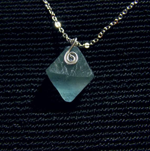 Icy Blue Fluorite Octahedron Gemstone Pendant