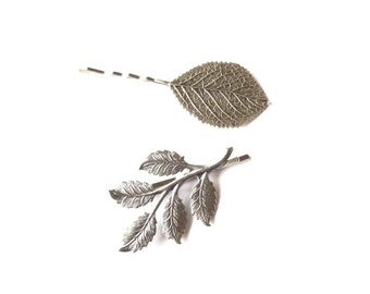Silver Leaf Branch Bobby Pin Bridal Hair Clip Bridesmaid Nature Botanical Garden Vintage Style Woodland Wedding Accessories Womens Gift