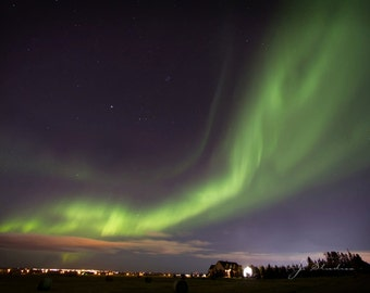 Northern Lights Photo, Aurora Borealis Photography, Green Streaks Starry Skies Celestial, Rural Alberta