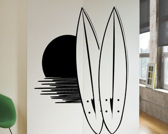 Vinyl Wall Decal Sticker Surfboard Sunset 1134B